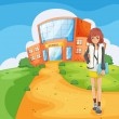 A lady standing outside the school building — Stock Vector