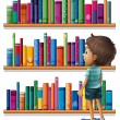 Stock Vector: A boy in the library in front of the bookshelves