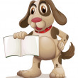 Stock Vector: A dog holding an empty book