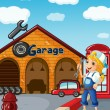A girl in the garage — Stock Vector