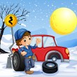 Stock Vector: A boy repairing a car in a snowy area