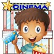 A boy holding a pail of popcorn and a ticket outside the cinema — Vector de stock