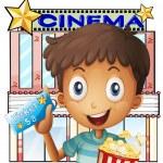 男孩抱着一桶爆米花和电影院外的一张票 — 图库矢量图片