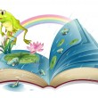 Stock Vector: Storybook with frog and fishes at pond