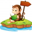 A monkey reading a book in an island — Stock Vector