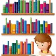 A young girl reading in the library — Stock Vector