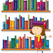 A girl balancing a book above her head in front of the bookshelv — Stock Vector