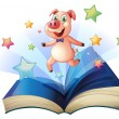 An open book with a pig jumping happily — Stock Vector