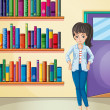 A pretty girl in the library — Stockvectorbeeld