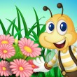 Stock Vector: Happy bee at garden