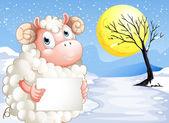 Una oveja en la nieve con una señalización vacía — Vector de stock