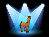 A horse at the stage under the spotlights — Stock Vector