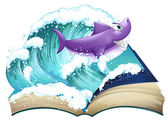 A storybook with a shark and a big wave — Stock Vector