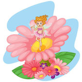 A flower pixie above a big pink flower — Stock Vector