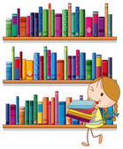 A little girl in the library — Stock Vector