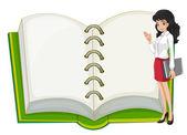 Učitelka a prázdný poznámkového bloku — Stock vektor