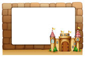 A castle in front of an empty signage — Stock Vector