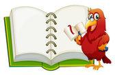 Papoušek a prázdný poznámkový blok — Stock vektor