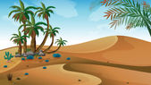 A desert with palm trees — Stock Vector