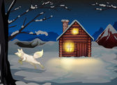A fox jumping outside the wooden house with snow — Stock Vector