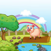 A pig standing above the trunk with a turtle at the pond — Stock Vector