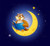 An owl reading a book on the moon — Stock Vector