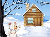 Un giovane orso fuori della casa in legno — Vettoriale Stock