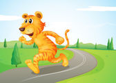 A tiger running in the street — Stock vektor
