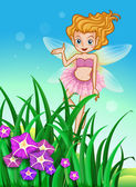 A flower pixie at the garden — Stock Vector