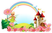 A pixie and a castle — Stock Vector