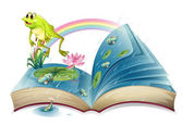 A storybook with a frog and fishes at the pond — Stock Vector