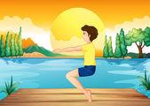 A boy exercising near the deep river — Stock Vector