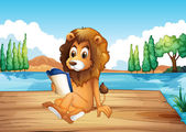 A lion reading a book seriously — Stock Vector