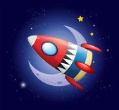 A spaceship near the moon — Stock Vector