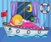 A girl sleeping on her boat-like bed — Stock Vector