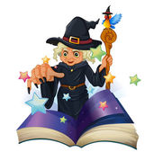 A storybook about a black witch — Stock Vector