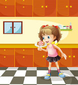 A girl eating lollipop — Stock Vector