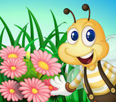 A happy bee at the garden — Stock Vector