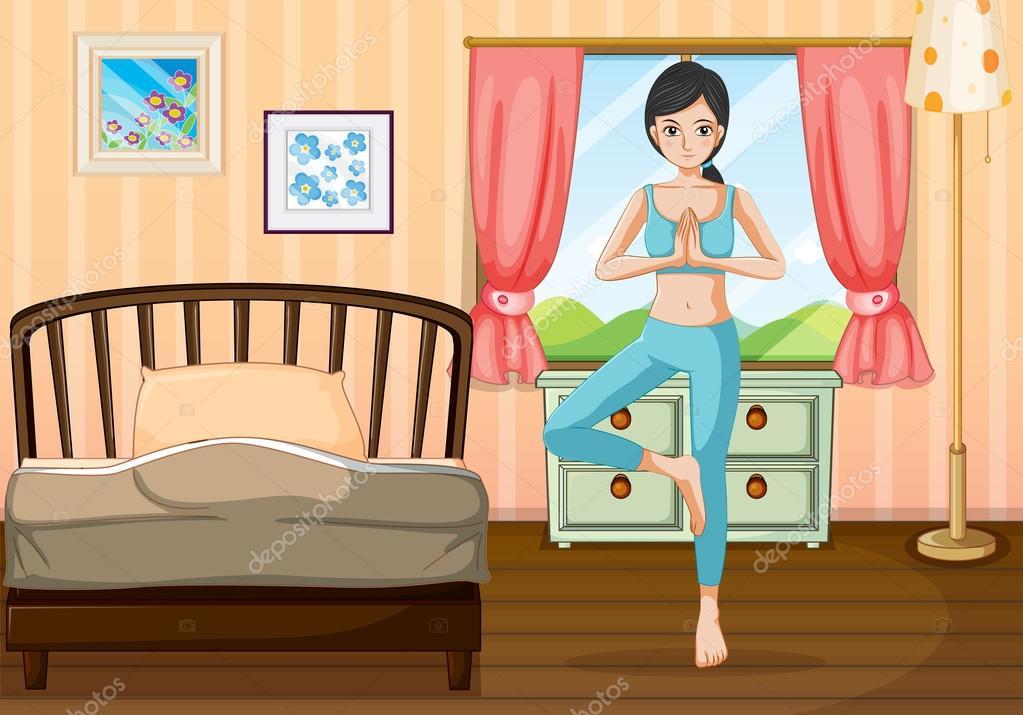 Decoracion Habitacion Yoga ~ una chica haciendo yoga cerca de su habitaci?n  Ilustraci?n de