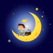 A boy and his pet at the moon — Stock Vector
