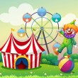 A clown standing above the ball at the carnival — Stock Vector