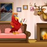 A parrot holding a book beside a fireplace — Stock Vector