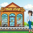 Stock Vector: Lady standing beside pawnshop