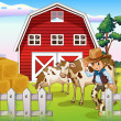 A cowboy inside the farm with cows and a barnhouse — Stock Vector