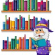 Wizard reading book in front of bookshelves — Stock Vector #27916189