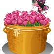 A basket of pink roses with a butterfly — Stock Vector