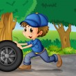 Stock Vector: A boy wearing a cap pushing a wheel