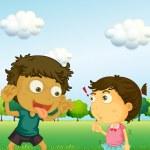 A boy annoying a little girl — Stock Vector