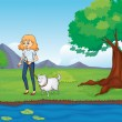 Stock Vector: Womwith dog walking along river