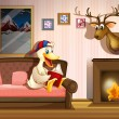 A duck reading a book beside a fireplace  — Stock Vector